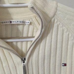 Cream White Zip Up Tommy Hilfiger Sweater